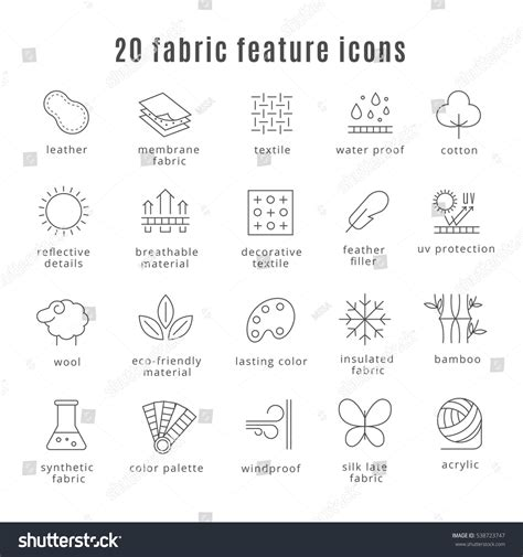 symbol for comfort fabric feature line icons comfort wear stock vector