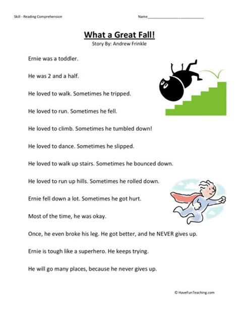 2nd Grade Free Reading Worksheets by Reading Comprehension Worksheet What A Great Fall