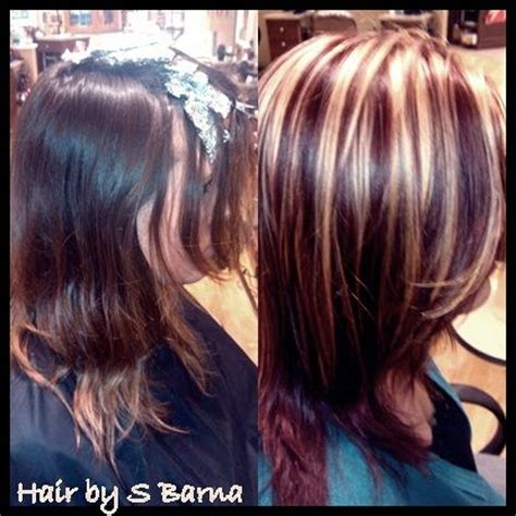 red hair all over hair by barna after is bright blonde highlights with high