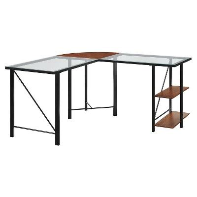 black corner desk target cruz glass top l shaped corner desk cherry black altra