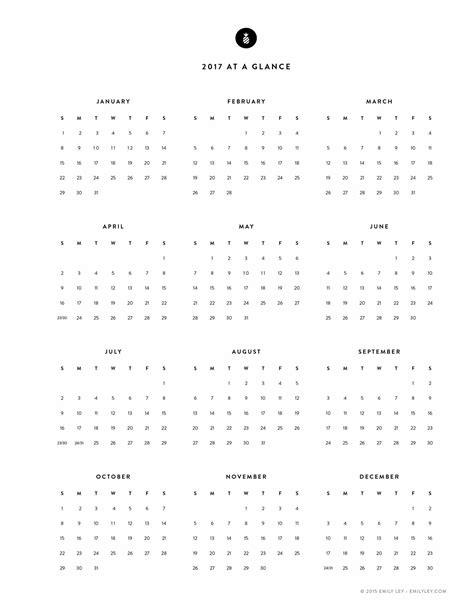 free year calendar 2017 best of year at a glance calendar template