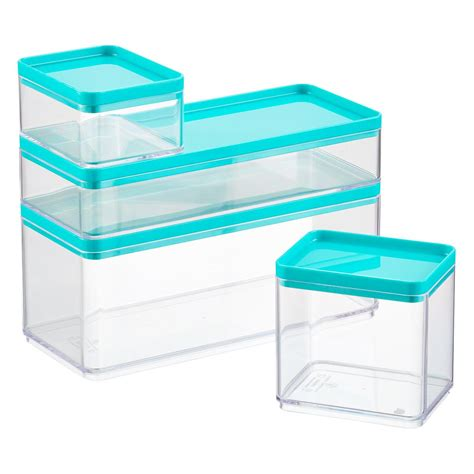 clear stackable storage containers stackable rectangle clear containers with teal lids the