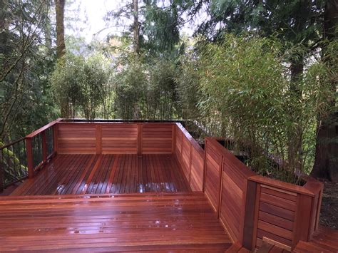 Bamboo Planter Boxes by Nw Portland Mahogany Deck With Bamboo Planter Boxes