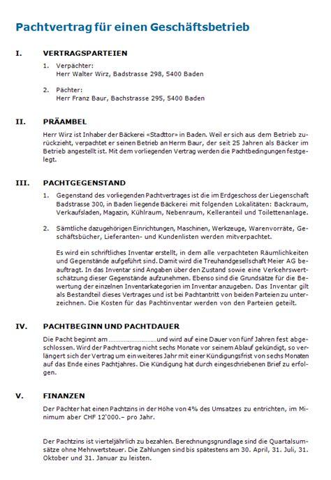 Muster Pachtvertrag Pachtvertrag Rechtssicheres Muster Zum