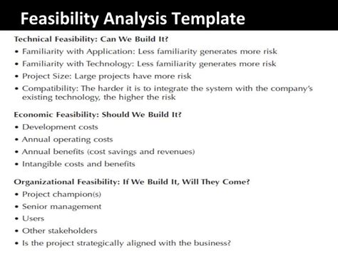 feasibility study template ppt systems analysis and design project planning