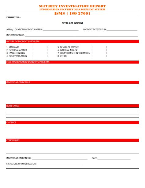 iso 27001 incident report template security investigation report format word pdf report