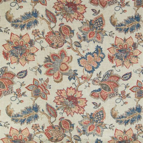 contemporary home decor fabric vintage red blue floral print linen upholstery fabric