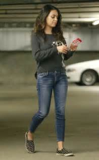Mila kunis looks super skinny in tight jeans just five months after