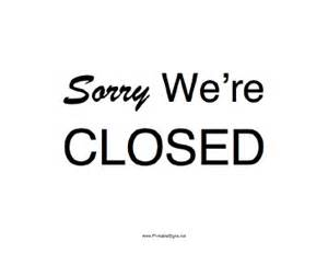 we are closed sign template printable sorry were closed sign