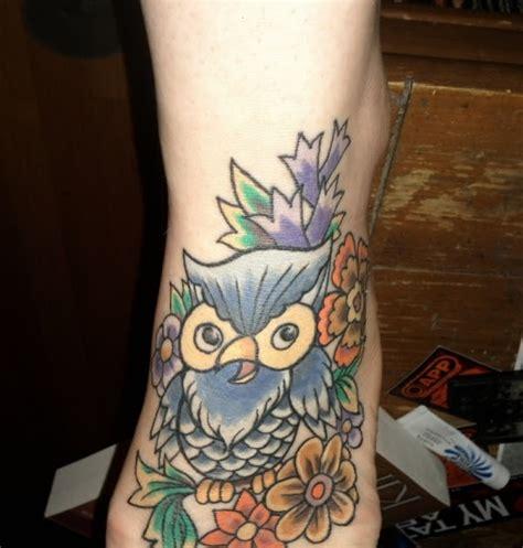 corner tattoos foot owl tattoos