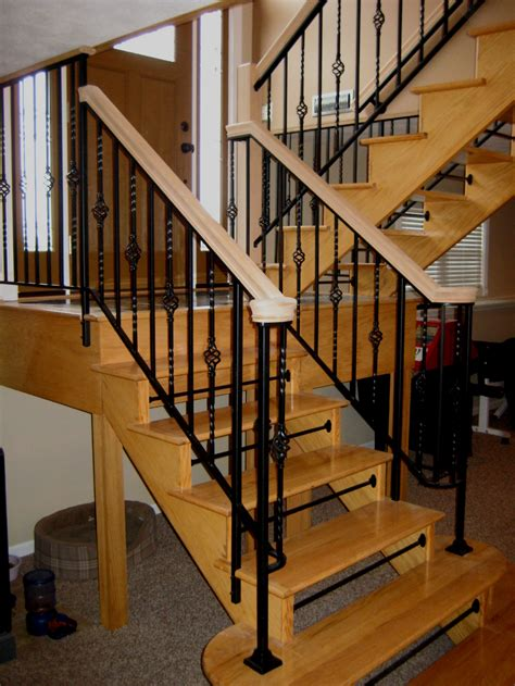 Decor: Wooden Stairs Design Ideas With Wrought Iron
