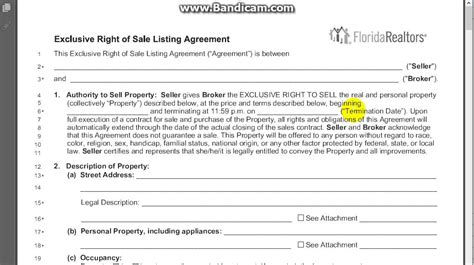 Exclusive Right Of Sale Listing Agreement Section 1 Youtube Exclusive Right To Sell Agreement Template