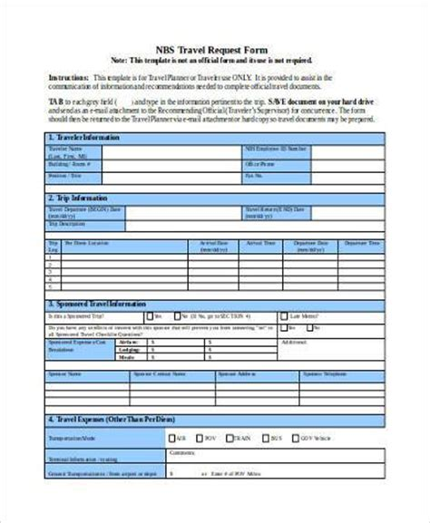 travel request form template word travel request form sles 8 free documents in word pdf