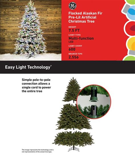 ge alaskan fir flocked pre lit tree shop ge 7 5 ft pre lit alaskan fir flocked artificial tree with 600 color changing