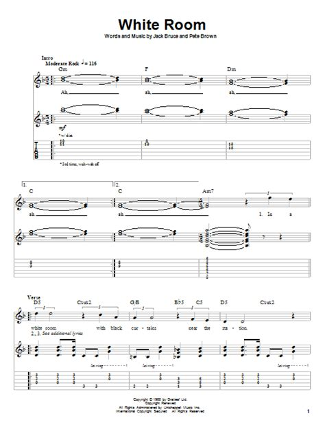 white room tab white room by guitar tab play along guitar instructor