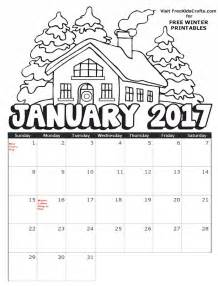 Image Of 2017 Printable January Coloring Calendar sketch template