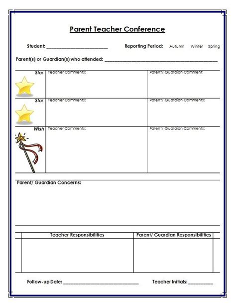 7 Best Images of Parent Teacher Conference Printables