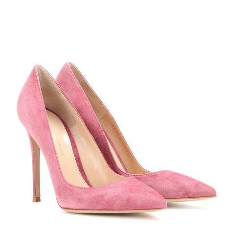 Heels Pink lyst gianvito suede pointed toe pumps in pink