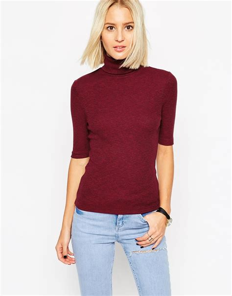 images of turtle neck ankara tops lyst asos turtle neck top in textured rib with short