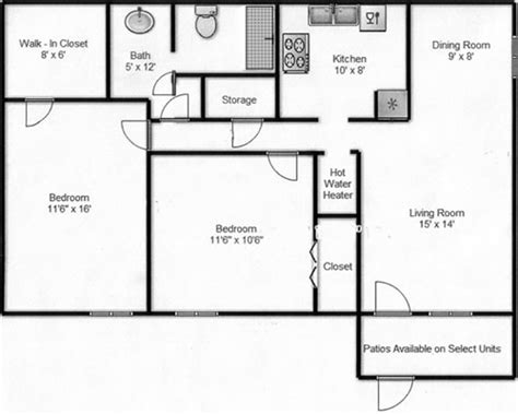 500 sq ft apartment floor plan floor plans seville apartments odessa texas
