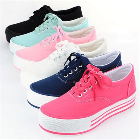 womens canvas platform comfy sneakers low top trainers