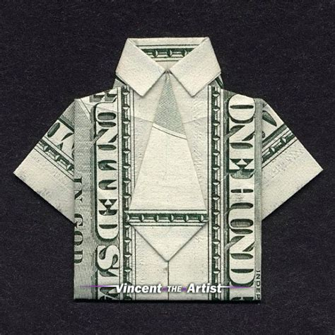 Hundred Dollar Bill Origami - dress shirt money origami clothes dollar bill