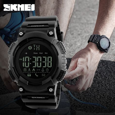 Jam Tangan Bluetooth Bracelet skmei jam tangan sporty smartwatch bluetooth 1256 black jakartanotebook