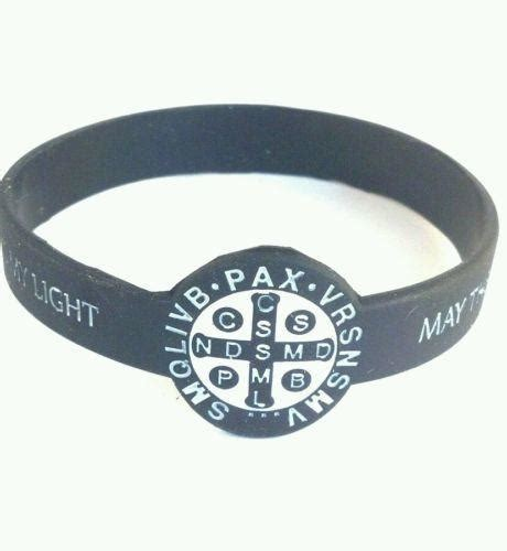 religious rubber sts st benedict sports bracelet stretchable rubber