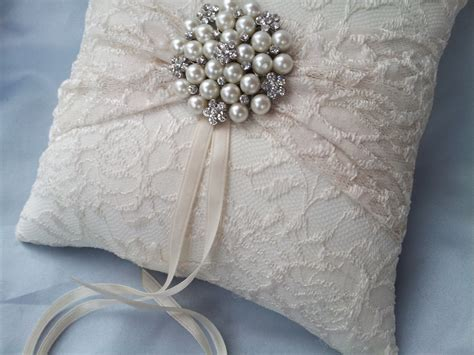 ivory ring bearer pillow lace ring pillow pearl rhinestone