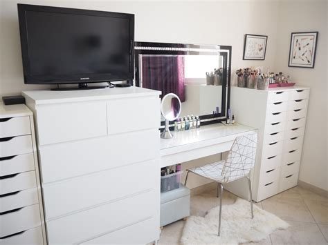 ikea vanity ideas my make up storage vanity bedroom tour expat make up addict