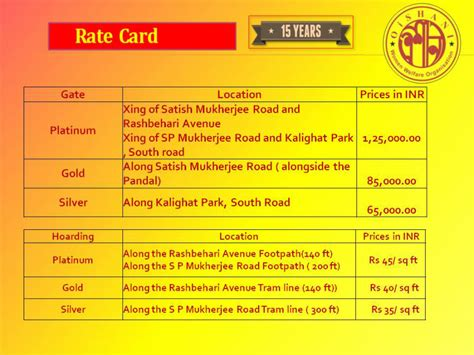 how to make a rate card rate card oishani welfare organisation organisation
