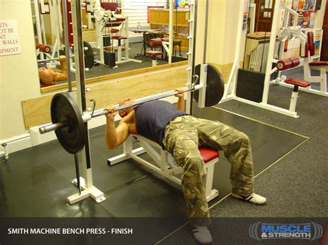 bench on smith machine smith machine bench press video exercise guide tips