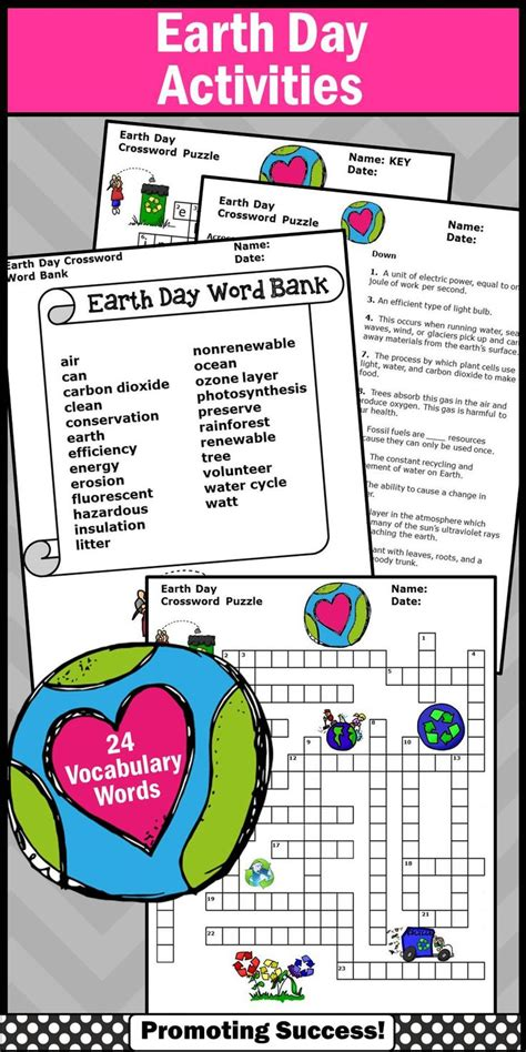 day activities for earth day crossword puzzle worksheet for environmental