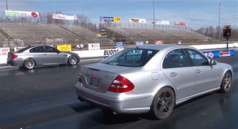 2006 bmw m3 horsepower 2006 mercedes e55 amg vs e92 bmw m3 in a quarter mile drag