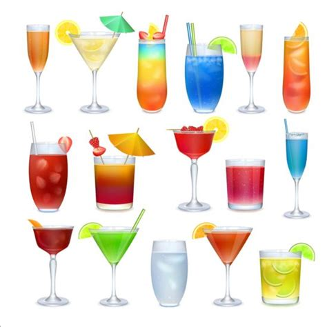 cocktail vector colored cocktail vector set 02 free
