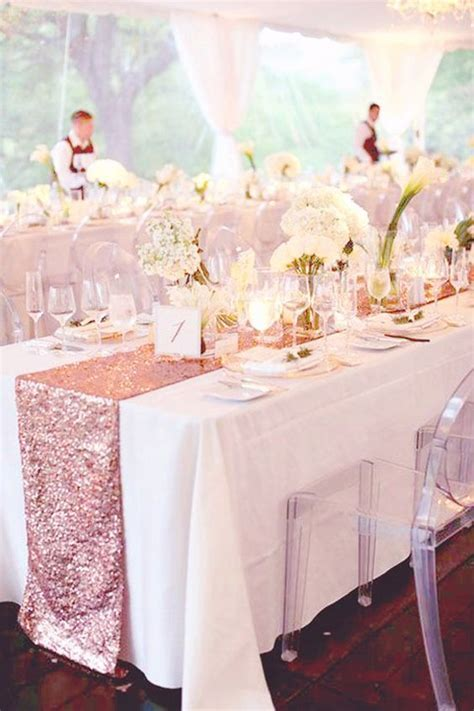 Rose Gold Sequin Table Runner   Perfect for Fall Weddings