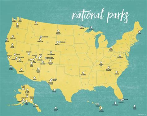 map usa national parks us national parks map 11x14 print