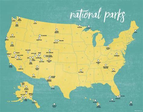 us national parks map us national parks map 11x14 print