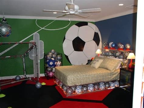 soccer themed bedroom modern sports kids room designs inspiration cool blue