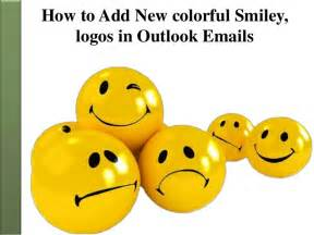 how to add new colorful smiley and logos in outlook