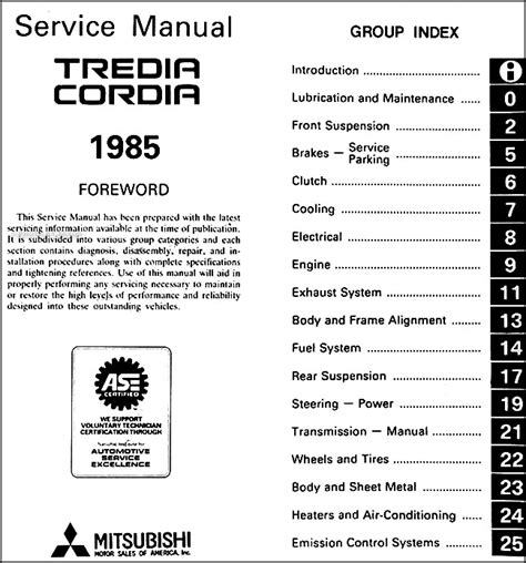 car repair manuals online free 1985 mitsubishi tredia auto manual 1985 mitsubishi cordia and tredia repair shop manual original