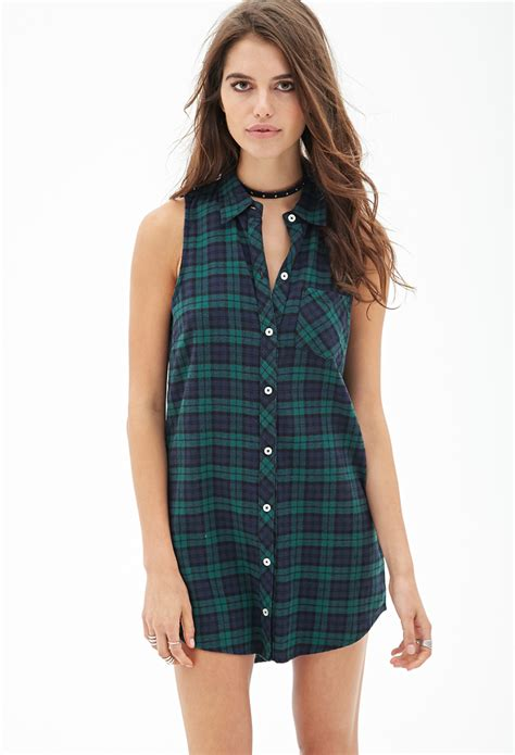 Plaid Collared Dress lyst forever 21 sleeveless collared plaid dress in green