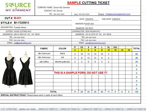cutting size ticket form template source my garment