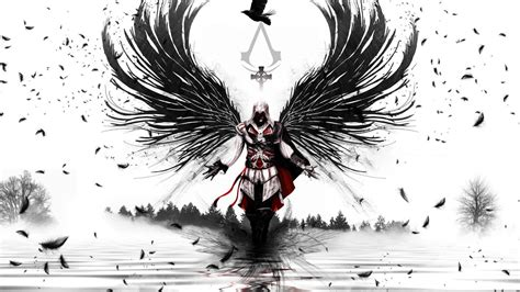 Sketches 1080p by Hd Wallpaper Assassins Creed Wings Black And White