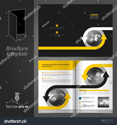 vector black brochure template design with arrows eps 10