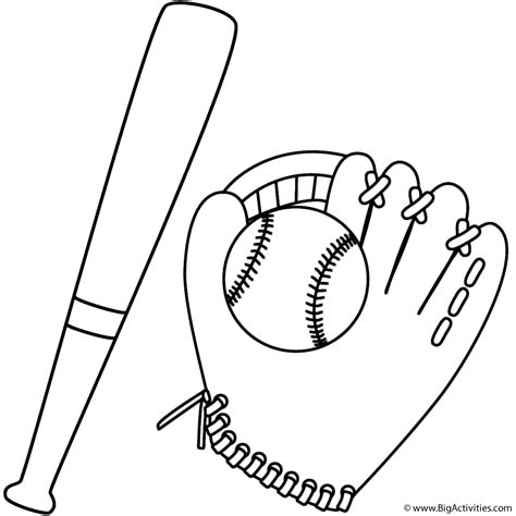 bat and baseball in a glove coloring page sports