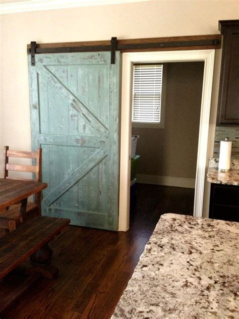 Distressed Barn Door Sliding Barn Door Reclaimed Pine Turquoise White Distressed Finis