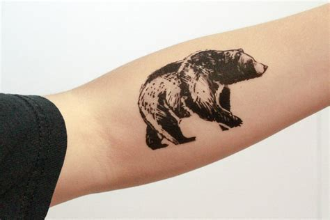 tattoo ink animal ingredients bear temporary tattoo black ink forest animal tattoo nature