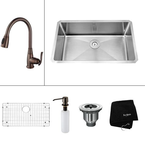 oiled bronze faucet with stainless steel kraus all in one undermount stainless steel 30 in single