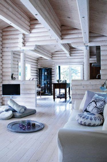 white washed log cabin neat cabins pinterest beautiful exposed rafters and cabin